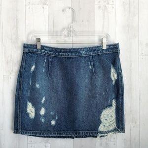 Lovers + Friends Skirts - [Lovers + Friends] Distressed Dark Wash Mini Skirt